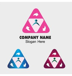Triangle symbol with people group and arrow sign vector