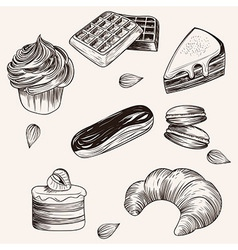 Various cakes and bakery doodle sketch set vector