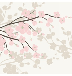Watercolor Background with Blooming Apple Flowers vector