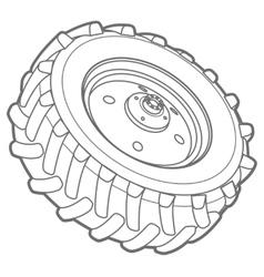 Wheel tractor outline vector