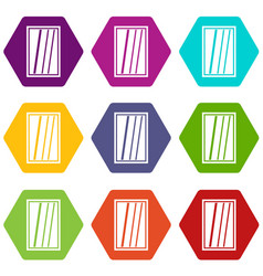 white rectangle window icon set color hexahedron vector image