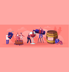 Wine producing and drinking concept man with vector