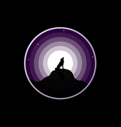 wolf silhouette howling to the full moon vector image