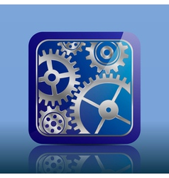 Button blue with gears vector image vector image