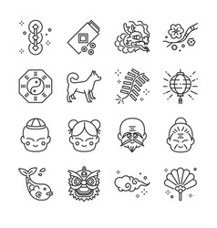 chinese new year line icon set vector image vector image