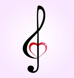 Shiny heart treble clef vector image