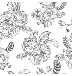Floral seamless background with roses and feathers vector image