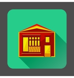 Little red house icon flat style vector image