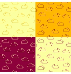 Set of seamless patterns with bunnies vector image