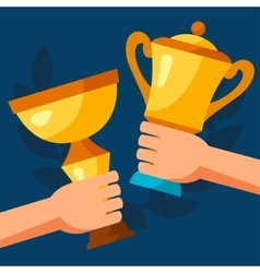 Sport or business background with awards and hands vector