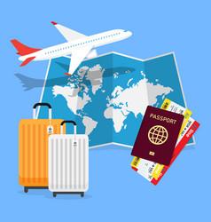 travel planning passport airplane ticket world map vector image vector image