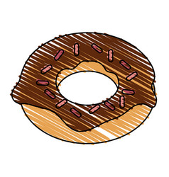 color drawing pencil cartoon donut with colored vector image
