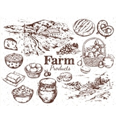 Farm Products Sketch Set vector image vector image