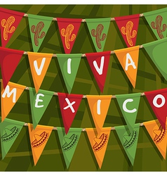 mexican bunting decoration vector image vector image