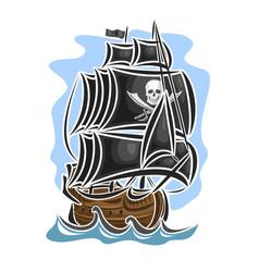 Pirate cartoon sailing ship vector