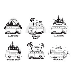 set with camping trailer logo cars on a landscape vector image