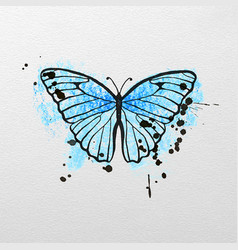 stylized blue butterfly vector image