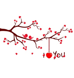 Tree branch with Love Hearts vector image vector image