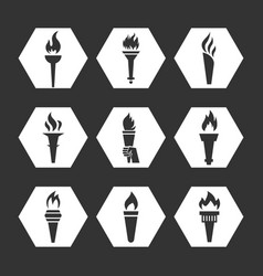 grey flat torch with flame icons set vector image