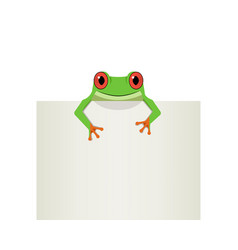 red eye frog on top white paper vector image vector image