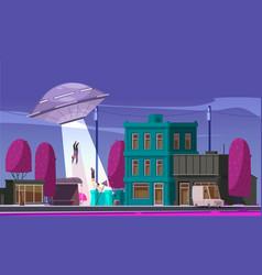 Alien ufo abduction composition vector