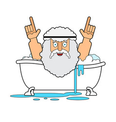 Archimedes in bath thumbs up eureka ancient greek vector