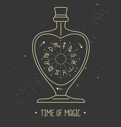 Astrology horoscope wheel in glass bottle vector