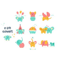 big set cute little elephants in different vector image