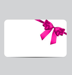 blank gift card template with pink bow and ribbon vector image
