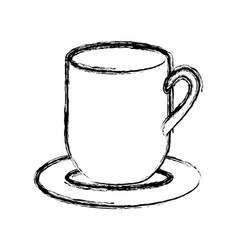 blurred silhouette dish porcelain with mug vector image