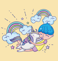 boy and unicorn cute cartoons vector image