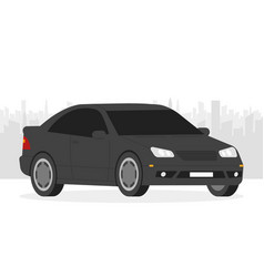 Car isolated automobile in city background vector