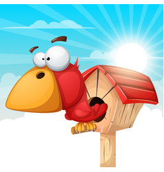 cartoon birdhouse cloud landscape vector image