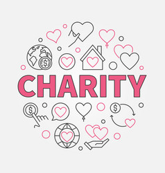 Charity round in outline style vector