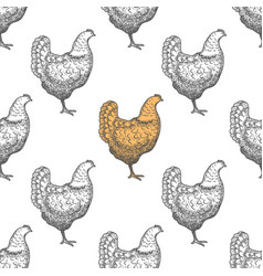 Chicken vintage engraved seamless pattern vector