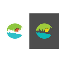 circle forest logo vector image
