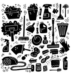 cleaning tools set black signs vector image