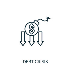 debt crisis outline icon thin line concept vector image