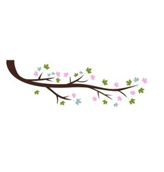 Decorative Spring Branch Tree Silhouette With Gree vector image