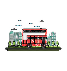 Doodle building and urban london bus in the city vector
