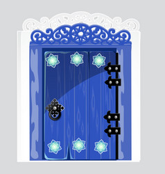 entrance blue wooden door with patterns snowflake vector image