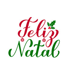 Feliz natal calligraphy hand lettering with holly vector