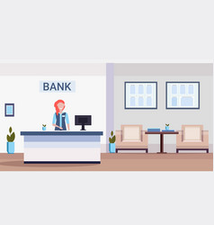 female specialist at reception counter financial vector image