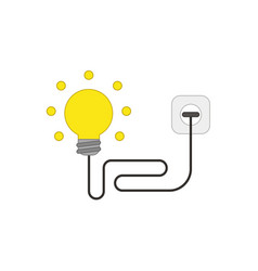 Flat design style concept light bulb with wire vector