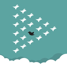Flock of birds flying in the sky vector image