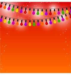 Garland of colored lights red festive background vector