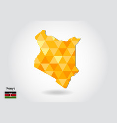 geometric polygonal style map of kenya low poly vector image
