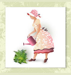 Girl gardener with a watering can vector