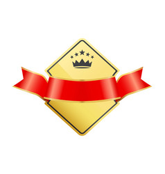gold coat arms with ribbon decoration vector image