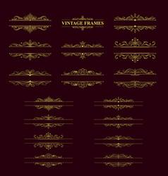 Gold stripes frame with vintage elements vector